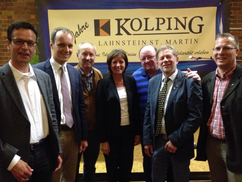 Vorstandsmitglieder der Kolpingfamilie St. Barbara mit dem Kolping-Bezirksvorsitzenden Peter Bertram und Ministerpräsidentin Malu Dreyer